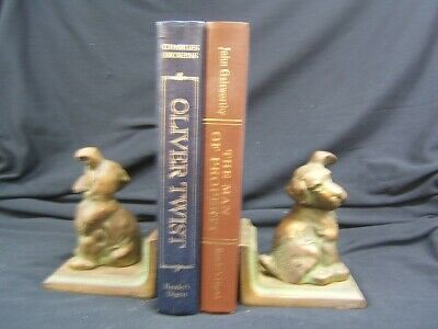 """Pair of Vintage Littco Cast Iron Dog Book Ends 5 3/4"""" Height VGC Made in USA"""