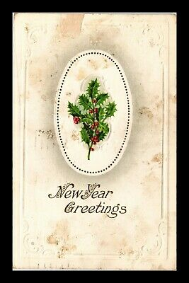 Dr Jim Stamps Us Holly New Year Greeting Series E Postcard 1918 Stained
