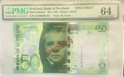 """SCOTLAND 2011 """"COLLECTOR'S SPECIMEN"""" 50 POUNDS NOTE. Unlisted .PMG SEALED SCARCE"""