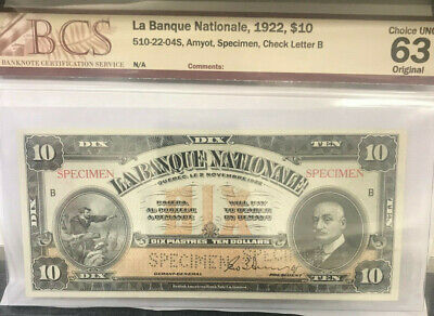 """CANADA 1922  """"SPECIMEN """" $10.00 banknote.BCS CHOICE UNCIRCLUATED 63..VERY SCARCE"""