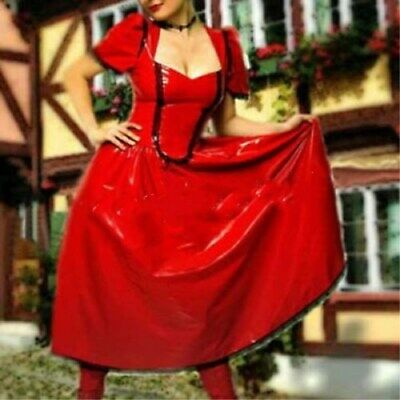 100%Latex Rubber Anzug Gummi Suit Dress Latex Ganzanzug Red with Black SizeS-XXL