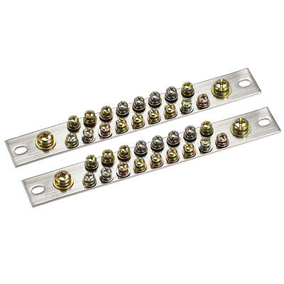 Copper Screw Terminal Block Connector Bar 100A Double Row 19 Positions 2 Pcs