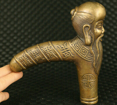 unique old bronze hand carved god of longevity statue noble walking stick gift