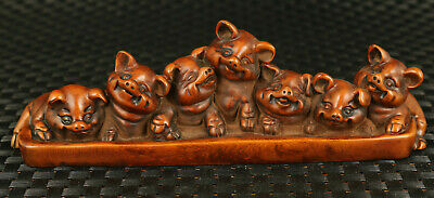 chinese old boxwood hand carved Lovely 7 pig noble collectable statue gift