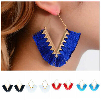 Women Ethnic Bohemian Long Tassel Fringe Boho Ear Stud Dangle Earrings Jewelry