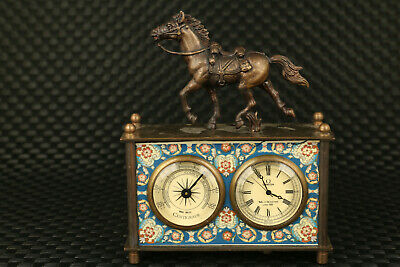chinese old copper Mechanical Movement horse clock watch