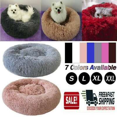 Pet Cat Dog Bed Large Dog Round Calming Nest Warm Soft Plush Sleeping Bag Fluffy