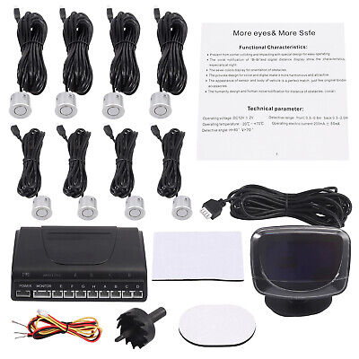 8 Parking Sensors Reversing Rear and Front Car Parking Sensors+ Display Monitor