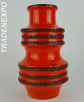 1970s Vintage SCHEURICH KERAMIK Orange Pagode Vase West German Pottery Fat Lava