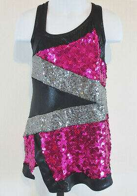 A Wish Come True Girls Size SC Pink Black Silver Dance Costume Outfit