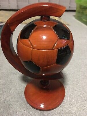 Beautiful Wooden Lacquered Football Ashtray
