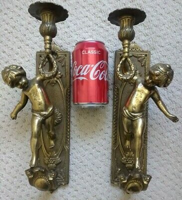 Antique Style Pair of Heavy Brass Cherub Candle / Light Sconces - Wall Mounted