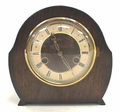 Vintage SMITHS ENFIELD Wooden MANTEL CLOCK With Key Spares/ Repairs - E35