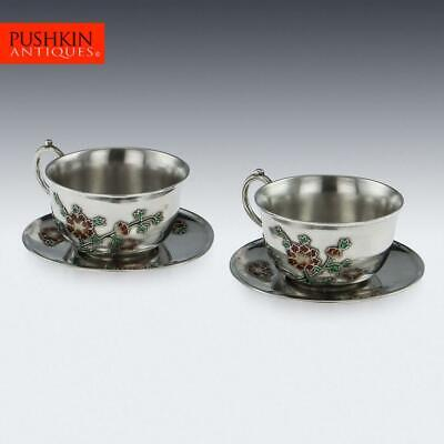 ANTIQUE 19thC CHINESE EXPORT SOLID SILVER & ENAMEL TEA CUPS c.1880