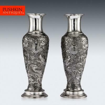 ANTIQUE 19thC CHINESE EXPORT SOLID SILVER PAIR OF VASES, TUCK CHANG c.1880