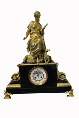 Antique French Gilt Patinated Bronze Figural Mantle Clock, 25″H, PA4592