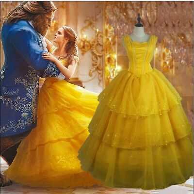 US Beauty and the Beast Ball Gown Dress Princess Belle Costume for Adult Women