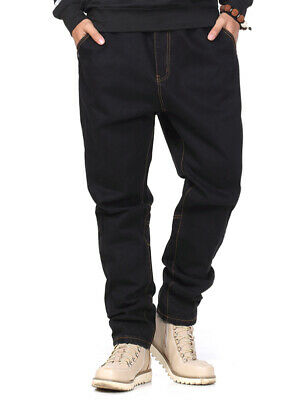Mens Jeans Relaxed Fit Drawstring Elastic Waist Pants Black Plus Size 30W-46W