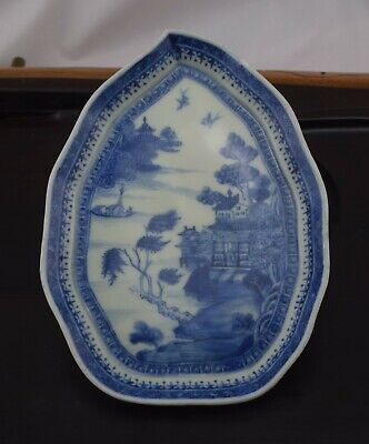 A rare 18th Century Chinese Export Blue & White Dish Qianlong Leaf Form #2