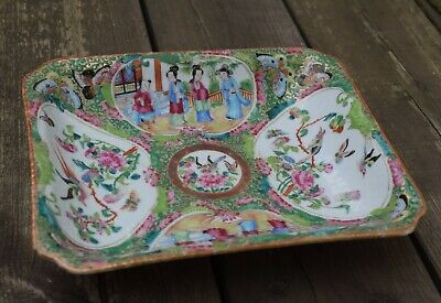 Antique Square Chinese Export Famille Rose Canton Medallion Plate