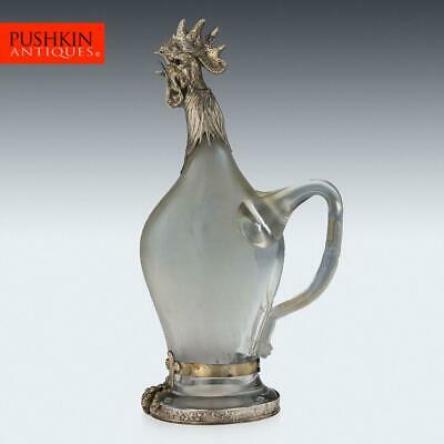 ANTIQUE 19thC GERMAN SOLID SILVER & GLASS ROOSTER NOVELTY DECANTER c.1890