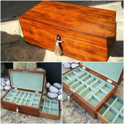 Terrific Early 19C Figured Mahogany Antique Jewellery/Vanity Box - Fab Interior