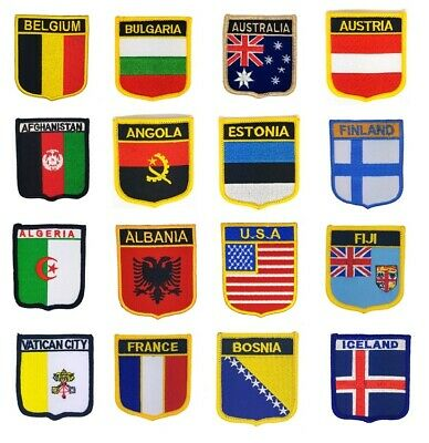 100+ National Country Flag Shield Shape Embroidered Sew / Iron On Patch Applique