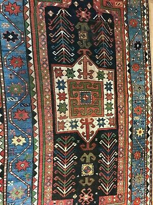ANTIQUE TERRIFIC HANDMADE KAZAK WOOL ON WOOL RUG (220 x 125 cm)