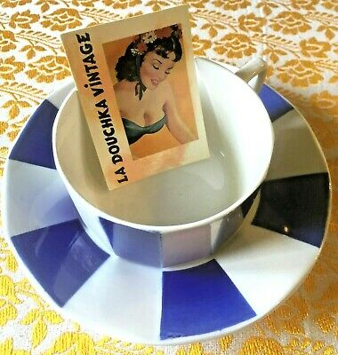 DIGOIN FRENCH 1940s COFFEE TEA CUP & SAUCER~ WHITE & BLUE ENAMELED CERAMIC ~MINT