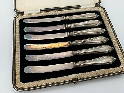 Cased Set Antique Silverplate 6 BUTTER KNIVES J.B RODGERS