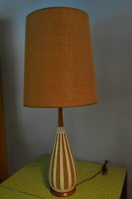 Vintage Mid-Century Modern Lamp ceramic/wood base/ Burlap Shade Gorgeous