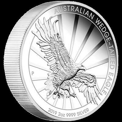 2 Oz Silber Australian Wedge Tailed Eagle 2019 High Relief 2 AUD Piedfort