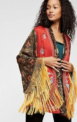 NEW $398 Free People Tiger Lily Kimono Top Topper Size XS Red Fringe Embroidered