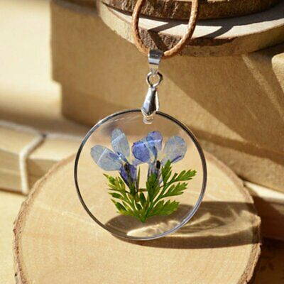 Handmade Natural Dried Round Blue Flower Glass Pendant Necklace Women Chic Gift