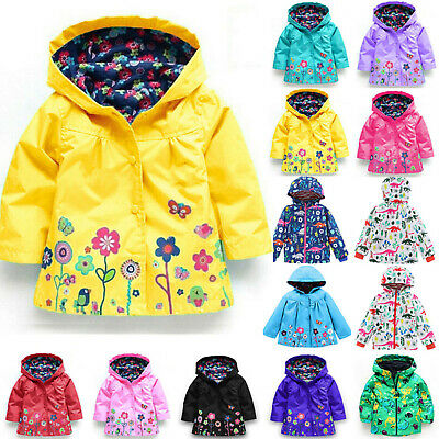 Toddler Kids Girls Floral Jacket Winter Hooded Rain Coat Waterproof Wind Outwear