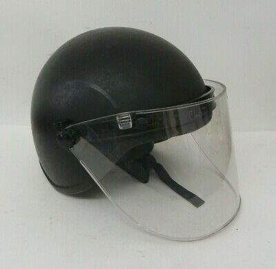 Military Police Riot Helmet w/ Paulson MFG. Corp Face Shield Model FF-6
