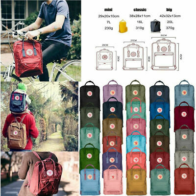 7L/16L/20L Classic Fjallraven Kanken Canvas Backpack Sport Shoulder Bag Handbag