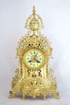 Antique French Mantle Clock Nice 1878 Pierced 8 day Gilt Rococo Bronze