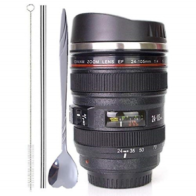 Coffee Mug Camera Lens Cup Sipping Lid Super Bundle Spoon Straw Brush Tumbler