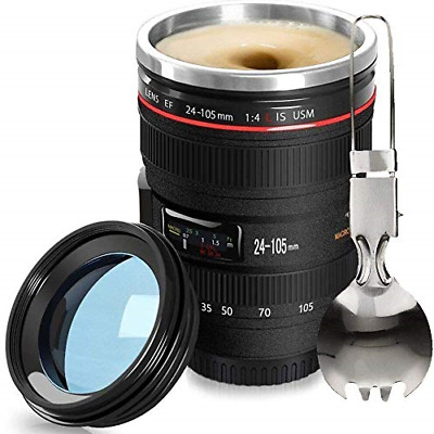 Camera Stainless Steel Lens Coffee Mug Cup Travel Gift for Photographer Premium