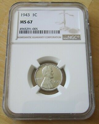 1943 U.S. Lincoln Steel Cent, Coin graded by NGC MS67, World War II, AUCTION