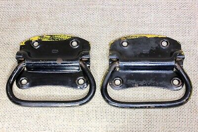 """2 old Tool Box Chest Handles drawer Pulls vintage black & yellow paint 4 1/8"""""""