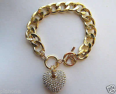 Gold or Silvertone Oval Link Charm Bracelet Rhinestone Studded Heart Dangle
