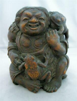 "Antique Asian Japanese? Good Luck Frog Wood Carving~8 1/2""~Expert Carving Fig~"