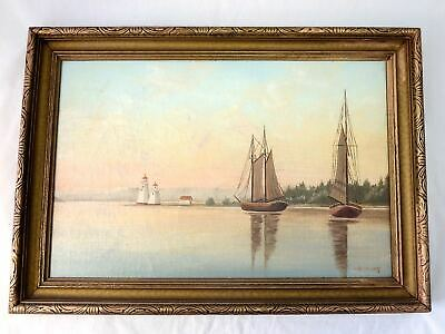 Early 1800s CANADIAN OIl Painting COASTAL W/LIGHTHOUSE & SAILING BOATS
