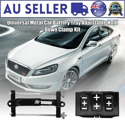 High Quality Universal Metal Car Battery Tray Adjustable Hold Down Clamp Kit AU
