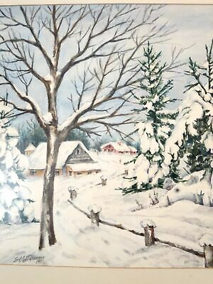 Vintage ROMANTIC WINTER SCENE WATERCOLOR PAINTING Signed 1952