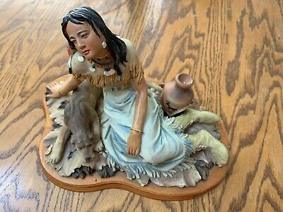 Native American Indian Woman With Dog Collectible Sculpture Figurine 11inX8in