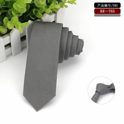Men Classic Cotton Solid Color Skinny Necktie Wedding Party Business Narrow Tie