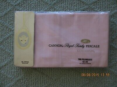Cannon Royal Family 1960'S Pink Pillowcases Std. (2) 100% Cotton Percale New Os